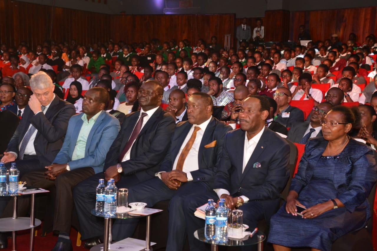 Dignitaries and students following the Research Clubs of Africa, National Competition at the Nairobi Film Centre in 2019